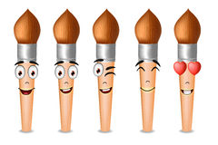 Paint Brush Vector Characters with Five Different Facial Expressions Royalty Free Stock Photography