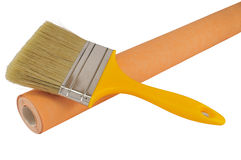 Paint brush and wallpaper Royalty Free Stock Photography