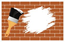 Paint brush and spot. Paint brush with white color and spot on the wall vector illustration