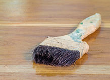 Paint brush on wood background Stock Photo