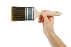 Paint brush with wooden handle Royalty Free Stock Photography