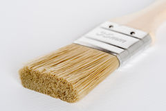Paint brush with a wooden handle on a white background. Perspective close-up of a clean paint brush Stock Image