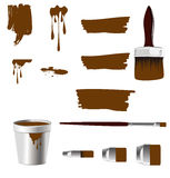 Paint, brush,writing brush and paint can Royalty Free Stock Images
