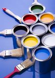 Paint and brushes Royalty Free Stock Images