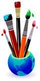 Paint brushes. Isolated illustrated logo design stock illustration
