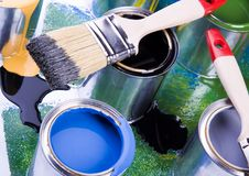 Paint and brushes Stock Photos