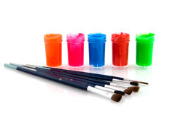 Paint and brushes Stock Photo