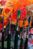 Paint brushes. And abstract painting Royalty Free Stock Images