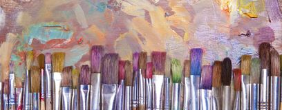 Paint Brushes Banner Royalty Free Stock Photos