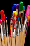 Paint Brushes on Black Stock Photo