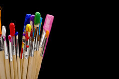 Paint Brushes on Black Royalty Free Stock Photo