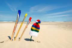Paint brushes at beach Stock Photos