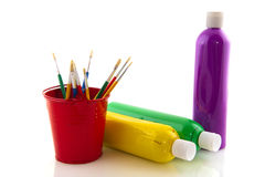 Paint brushes and bottles Stock Photo