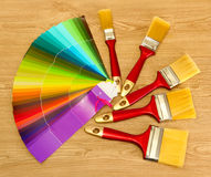 Paint brushes and bright palette Stock Image