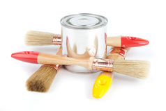 Paint brushes and can Stock Photography