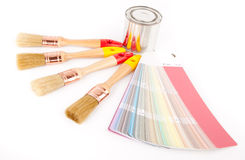 Paint brushes and can Stock Images