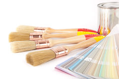Paint brushes and can Royalty Free Stock Images