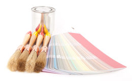 Paint brushes and can Royalty Free Stock Photo