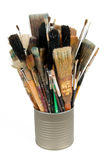Paint brushes in a can. Isolated over white Stock Photo