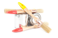 Paint brushes and cans Royalty Free Stock Photos
