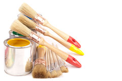 Paint brushes and cans Royalty Free Stock Photography