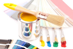 Paint brushes and cans Royalty Free Stock Photo