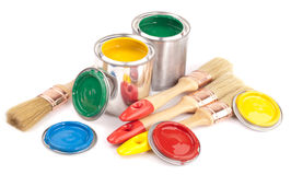 Paint brushes and cans Royalty Free Stock Image