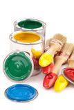 Paint brushes and cans Royalty Free Stock Images