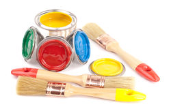 Paint brushes and cans Stock Photo