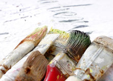 Paint brushes close up Stock Images