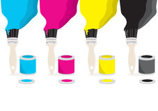 Paint brushes with CMYK colour. Paint cans with brushes painting with CMYK colour on white, vector illustration Stock Photos