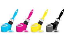 Paint brushes with CMYK colour. Paint cans with brushes painting with CMYK colour on white, vector illustration Royalty Free Stock Photo