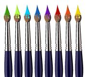 Paint brushes with color splash aligned Royalty Free Stock Photos