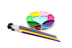 Paint brushes and colors Stock Photo