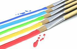 Paint Brushes and colors Royalty Free Stock Photography