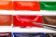 Paint brushes, colors and pallet Royalty Free Stock Photography