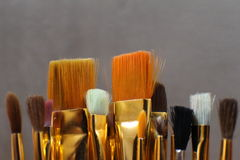 Paint brushes with copy space Royalty Free Stock Photos
