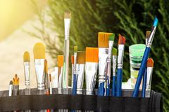 Brushes for painting on the face stock image