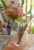 Paint brushes in glass Royalty Free Stock Image