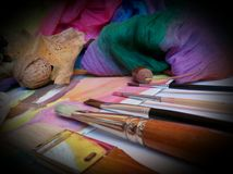 The paint brushes royalty free stock image