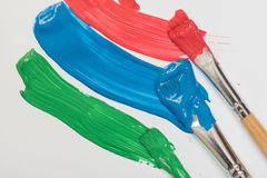 Paint brushes with gouache Royalty Free Stock Photos