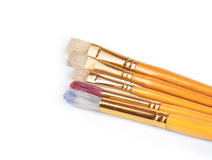 Paint brushes with gouache Royalty Free Stock Images