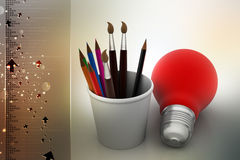 Paint brushes and light bulb, business concept. In color background Royalty Free Stock Photos