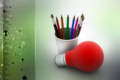 Paint brushes and light bulb, business concept. In color background Stock Images