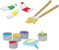 Paint brushes and paint. An illustration of some paint brushes and paint on a white Royalty Free Stock Photos