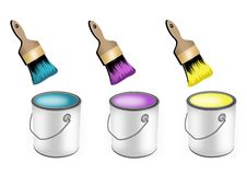 Paint brushes and paint cans. Set of paint brushes and paint cans Royalty Free Stock Photos