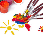 Paint brushes with paint Stock Photo