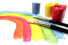 Paint brushes with paints Stock Image