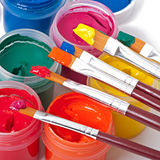 Paint brushes and paints Stock Image