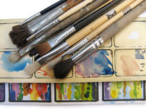Paint brushes and palette Stock Photo